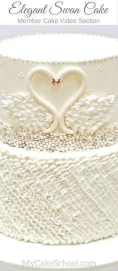Elegant Swan Cake with Buttercream Ruffles! Cake video tutorial by MyCakeSchool.com. (Member Cake Video Section.) Perfect for weddings, bridal showers, anniversaries, and more!