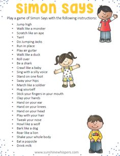 14 Equipment Free Outdoor Games Your Kids Will Go Crazy For! These 14 outdoor games for kids are super fun and none of them require any equipment at all; not even a ball! Do you need ideas to keep your game of Simon Says going strong? Try these ideas. Physical Activities For Kids, Toddler Activities, Fun Activities, Movement Activities, Child Development Activities, Listening Activities For Kids, Proprioceptive Activities, Listening Games, Animal Activities For Kids