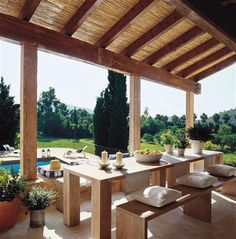 Home Renovation Outdoor House Tour-Sitting High in the Hills of the Island of Mallorca - High in the Hills of the Island of Mallorca Spanish Style Homes, Spanish House, Pergola With Roof, Pergola Patio, Pergola Ideas, Backyard, Porch And Terrace, Mediterranean Living Rooms, Gazebos