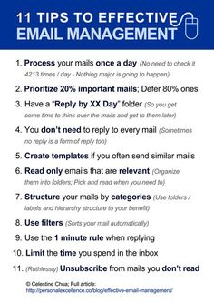 11 Tips to Effective EMAIL MANAGEMENT - Business Management - Ideas of Business Management - 11 tips to effective email management time management organisation. Time Management Tips, Business Management, Office Management, Effective Time Management, Project Management, Business Writing, Business Tips, Work Productivity, English Writing Skills