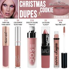 Jeffree Star Christmas Cookie Velour Liquid Lipstick Dupes I have another Jeffree Star Velour Liquid Lipstick dupe to share with all of you today! The next shade up on the dupe list is. Body Makeup, Makeup Kit, Makeup Brush Set, Makeup Geek, Cute Makeup, Makeup Stuff, Prom Makeup, Perfect Makeup, Makeup Case
