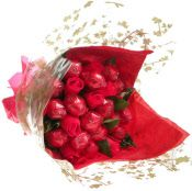 Red Chocolate Flower Bouquet. For mums - 16 delicious truffles wrapped and presented like a bouquet of flowers. Other colours available.  http://www.sayitbaby.co.uk/contents/en-uk/d22_chocolate-bouquets-and-gifts.html