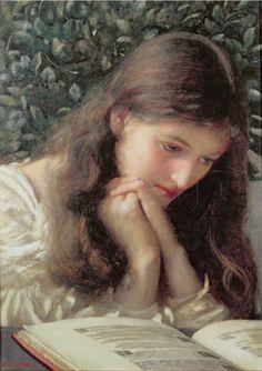 ✉ Biblio Beauties ✉ paintings of women reading letters & books - Edward Robert Hughes | Idle Tears