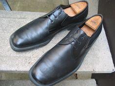 SALVATORE FERRAGAMO Used Black Leather Dress Oxfords 11.5 D #SalvatoreFerragamo #Oxfords