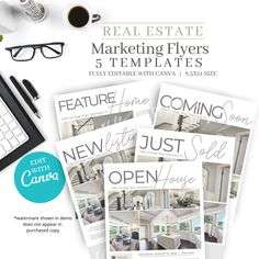 Quickly and easily create beautiful and professional real estate flyers for all your listings with this super easily editable template with Canva in beautiful grey tones.  Let's face it, you need to stand out when it comes to your competition, and there's no need to spend a fortune to do it. Once this listing is purchased, you will have access to a link in order to edit all 5 templates in Canva. Marketing Flyers, Real Estate Marketing, Social Media Marketing, Real Estate Templates, Real Estate Flyer Template, Real Estate Buyers, All Fonts, Home Buying, Open House