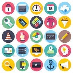 Web Development Flat Icons — JPG Image #puzzle #anchor • Available here → https://graphicriver.net/item/web-development-flat-icons/9457429?ref=pxcr