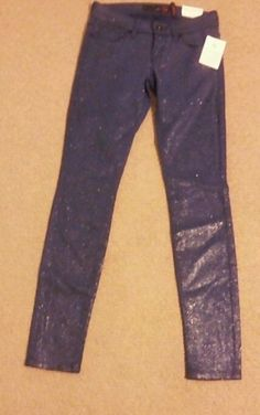 "NWT Guess AMICA GLITTER Skinny Jeans Size 25 PASSION BLUE 29"" INSEAM #guess #SlimSkinny"