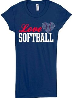 Softball Rhinestone Love Short Sleeve Shirt $23.99