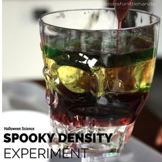 Do you know which liquids are heavier or lighter than others? Make a simple density experiment with liquids you already have! Fall STEM density experiment.