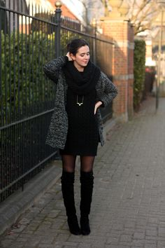 Sweater Dress and Over The Knee Boots - THE STYLING DUTCHMAN.