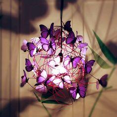 Lampara de techo de mariposas de papel Purple rain