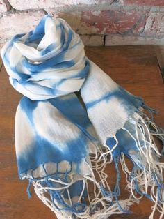 Aizome Indigo Shibori  Cotton scarf (Asagi blue) [CC-1]ASAGAO