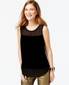 INC International Concepts Illusion Panel Sleeveless Top, Only at Macy's - Tops - Women - Macy's