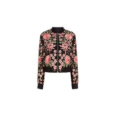 Needle & Thread Black Rose Embroidered Bomber Jacket found on Polyvore featuring outerwear, jackets, light weight jacket, zip jacket, shawl jacket, embroidered bomber jacket and embellished bomber jacket