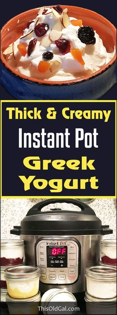 Easy Thick & Creamy Instant Pot Greek Yogurt via @thisoldgalcooks