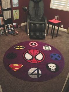 Favorite Super Heros in a 6' Round Personalized Rug