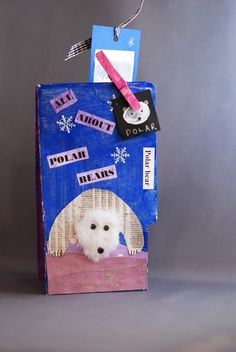 How to make File Folder Books: this polar bear example is an artistic nonfiction mini-book.