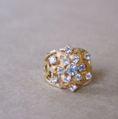 1960s vintage cocktail ring / gold and by AlessandraErmelinda, $29.00