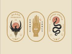 Mystical badges designed by Daphna Sebbane. Connect with them on Dribbble; Graphic Design Branding, Typography Design, Packaging Design, Graphic Design Tattoos, Logo Design Trends, Wine Packaging, Identity Design, Brand Identity, Illustrations