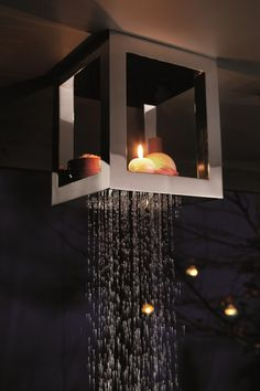 Ceiling mounted stainless steel overhead #shower BOUGIES by RUBINETTERIE RITMONIO | #design Peter Jamieson