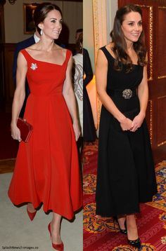 September 2016 // November 2016 Catherine, Duchess of Cambridge wears two gorgeous cocktail dresses by Preen, a red one and black one.