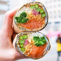 DC's sushi burrito game looking more than decent. : by infatuation Sushi Recipes, Seafood Recipes, Asian Recipes, Cooking Recipes, Healthy Recipes, Sandwich Bar, Sushi Burrito, Desert Recipes, Food Cravings