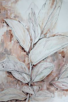 Large Plant mixed media artwork. Rubber plant, leafy painting. Thick and expressive painting with a nude colour palette of soft pinks, soft peaches, terracotta and cream. Mixed Media Artwork, Mixed Media Painting, Nude Color, Colour, Rubber Plant, Large Plants, Peaches, Terracotta, Around The Worlds