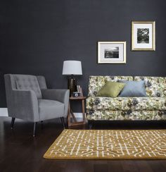 In this setting we have the Norm sofa in a floral print paired with the Tarantino chair in a solid. Van Gogh Photo, Photo Shoot, Floral Prints, Sofa, Cool Stuff, Chair, House Styles, Furniture, Home Decor