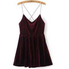 SheIn(sheinside) Cross Back Velvet Cami Romper ($22) ❤ liked on Polyvore featuring jumpsuits, rompers, burgundy, sexy jumpsuits, sexy romper, long-sleeve rompers, velvet jumpsuits and romper jumpsuit