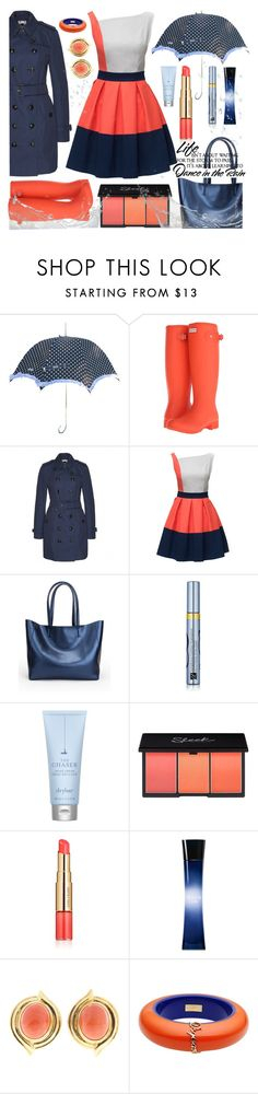 """""""Dancing in the Rain..."""" by bleucabbage ❤ liked on Polyvore featuring Moschino, Hunter, Burberry, Estée Lauder, Drybar, Giorgio Armani and Dsquared2"""