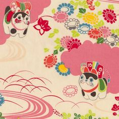 lucky cat fabric