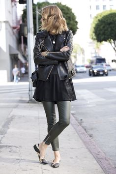 anine bing sale outfit leather pants dress leather jacket colette ballerinas chanel bag