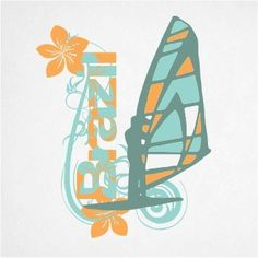 Flowers and windsurf t-shirt design in vector graphic | YOUGRAPH