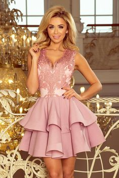 11158590f5 Exclusive Pastel Pink Lace V Neckline Sleeveless Flared Mini Dress