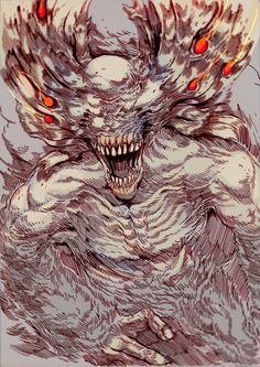 28 bizarre manga, anime, game & kaiju monsters from Witness the Absurd, a UK based art student supporting herself thru commissions & T-shirts sales. Dark Fantasy Art, Dark Art, Soul Saga, Dark Souls Art, Fantasy Beasts, Arte Horror, Gothic Horror, Avatar, Bloodborne
