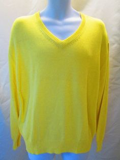 Womens Sweater QI Cashmere Solid yellow v neck size L cotton/viscose NWT #QICASHMERE #VNeck