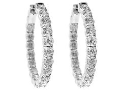 5.67 carats Inside Out Hoop Earrings with Round Diamonds Set in 14k White Gold