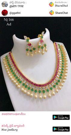 1 Gram Gold Jewellery, Antique Jewellery, Gold Jewelry, Jewelery, Drop Necklace, Stone Necklace, Gold Necklace, Silk Thread Necklace, Diwali Diy
