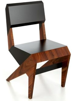 Cubist wood and lacquer chair.