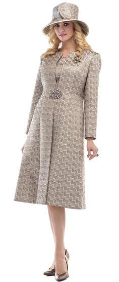 Moshita Couture Style 6468. Novelty brocade jacket and dress by Moshita Couture. Jacket is 47 inches long and the dress 30. Sizes 8 to 24. #jacket #dress #fitritefashions #womensfashion #womensclothing