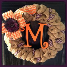Chevron Burlap Wreath with Initial- Front Door Wreath- Wedding Gift- Monogram Wreath- Fall Wreath on Etsy, $64.50