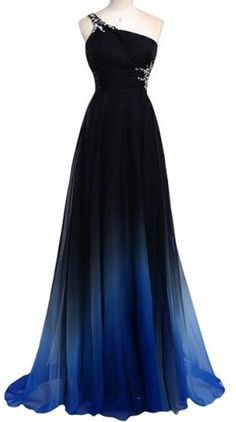 One-Shoulder Ombre Color Pleated Dress