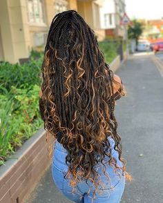 box braids with color ; box braids with curly ends ; box braids hairstyles for black women ; box braids with curly hair Box Braids Hairstyles For Black Women, Faux Locs Hairstyles, African Braids Hairstyles, Braids For Black Hair, Ponytail Hairstyles, Girl Hairstyles, Braids For Black Women, Protective Hairstyles, Protective Styles