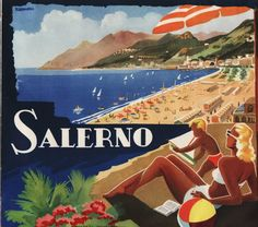 Vintage beautiful travel poster Salerno , Italy by Filippo Romoli . #beach #riviera #essenzadiriviera www.varaldocosmetica.it