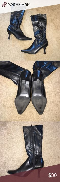 Black tall boots Lace look up one side, zip up on other, 2 inch heels Macy's Shoes Heeled Boots