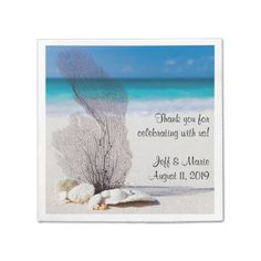 Personalized Coral Beach Wedding Disposable Napkins