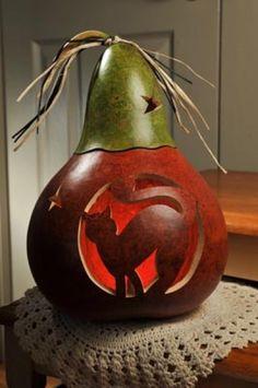 Zula Halloween Cat Gourd Meadowbrooke gourds