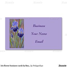 Iris flower business cards by Renee Lavoie
