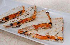 #Vegan sweet potato and black bean quesadillas with jack cheese. Torturously appetizing.
