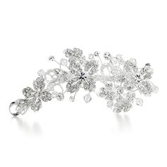 "Mariell's sparkling crystal bridal hair clip features pave leaves accented by bold crystal teardrops & faceted crystal beads. This 5 1/4"" w x 2 1/2"" h sterling silver plated wedding headpiece has a spring clip to wear your hair down or in an updo."